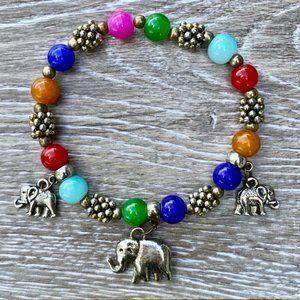 3 Elephants Bracelet Beads Gold Blue Red Green